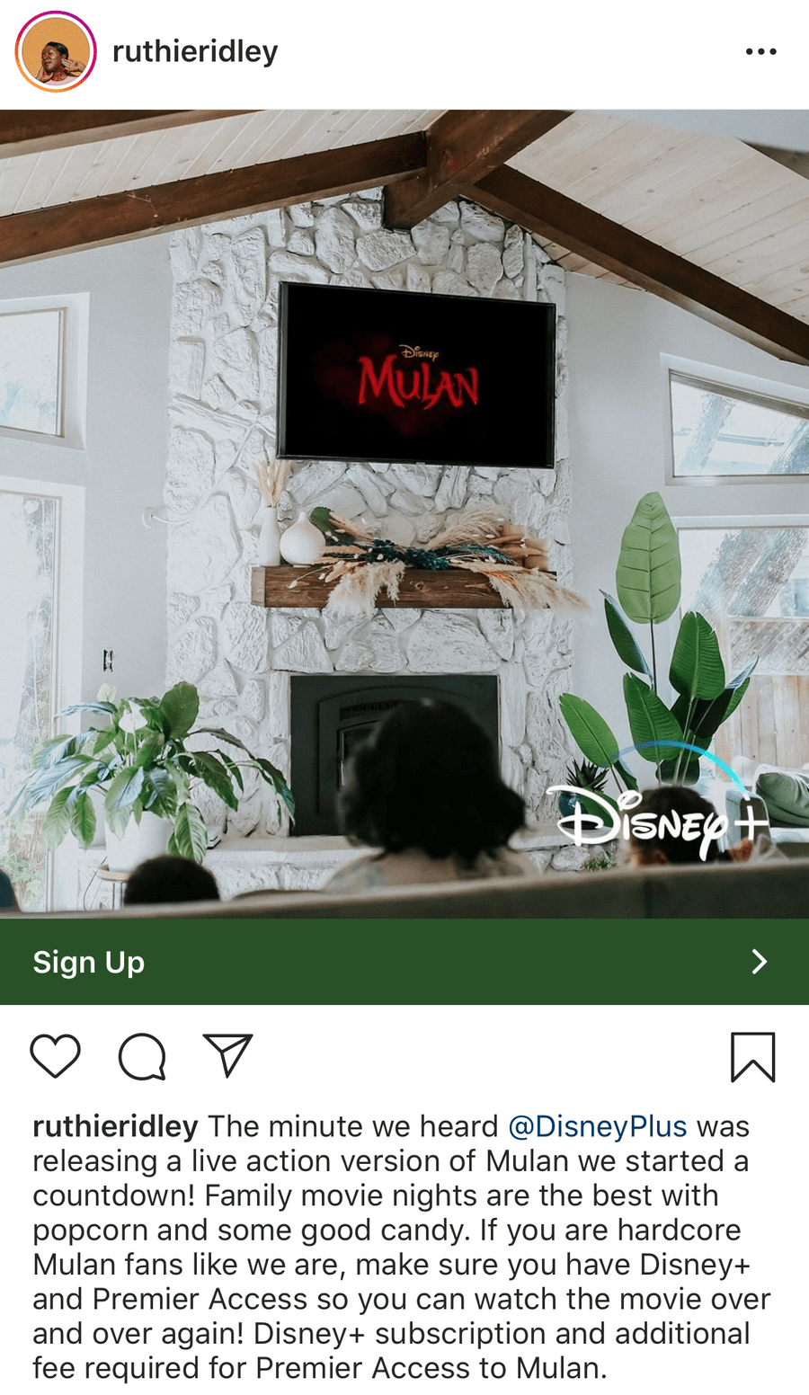Ruthie Ridley's Mulan post with Disney
