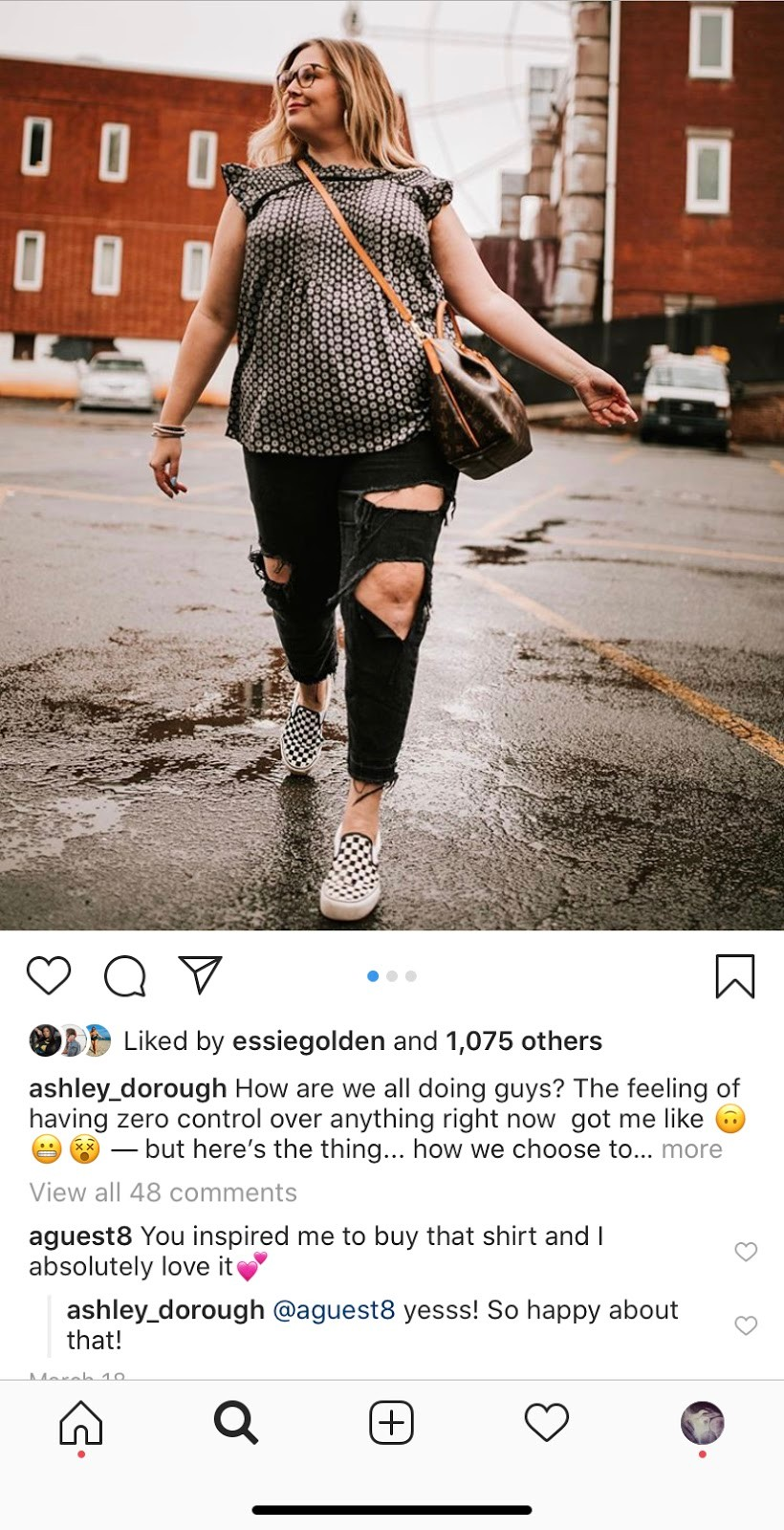 Instagram image of Ashley Dorough wearing a blouse